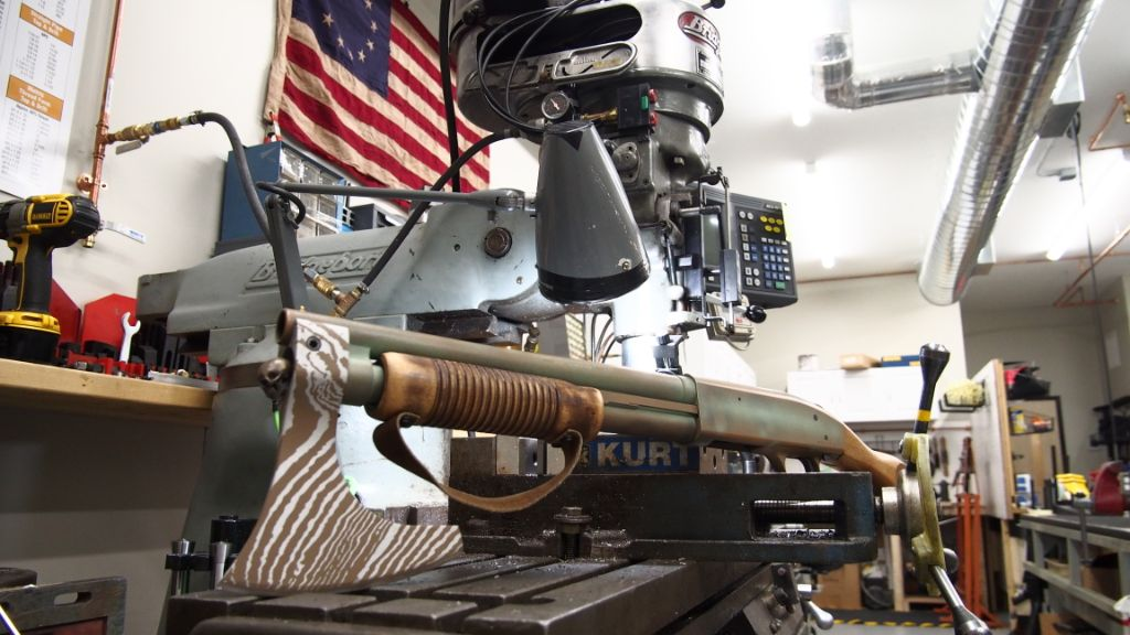 An Old Glory Customs shotgun on a Bridgeport Mill in Greenville NH