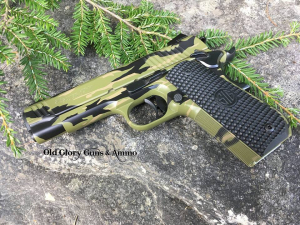 Sig Sauer 1911 in a Tiger Stripe pattern.