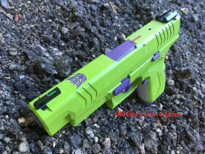 A little 80s throwback, Devastator from Transformers! Zombie Green and Bright Purple with a hint of Crimson and Battleship Gray.