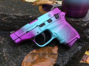 Smith & Wesson Bodyguard 380 in a custom blue and purple candy