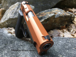 Old Glory Guns & AmmoPublished by Eric Rantamaki · July 10 at 8:10 PM · Custom Copper and Plum Brown Cerakote. A little restoration on this tired S&W 915.