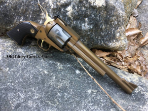 Ruger Blackhawk in 30 Carbine. Distressed Burnt Bronze and Distressed Stainless.