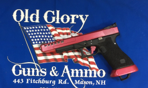 Glock 24 built for competition shooting with Bomar rear sight and new Cherry Red Metallic Cerakote!!! This gun is loaded with new Old Glory Custom features including our new 6 point stippling.